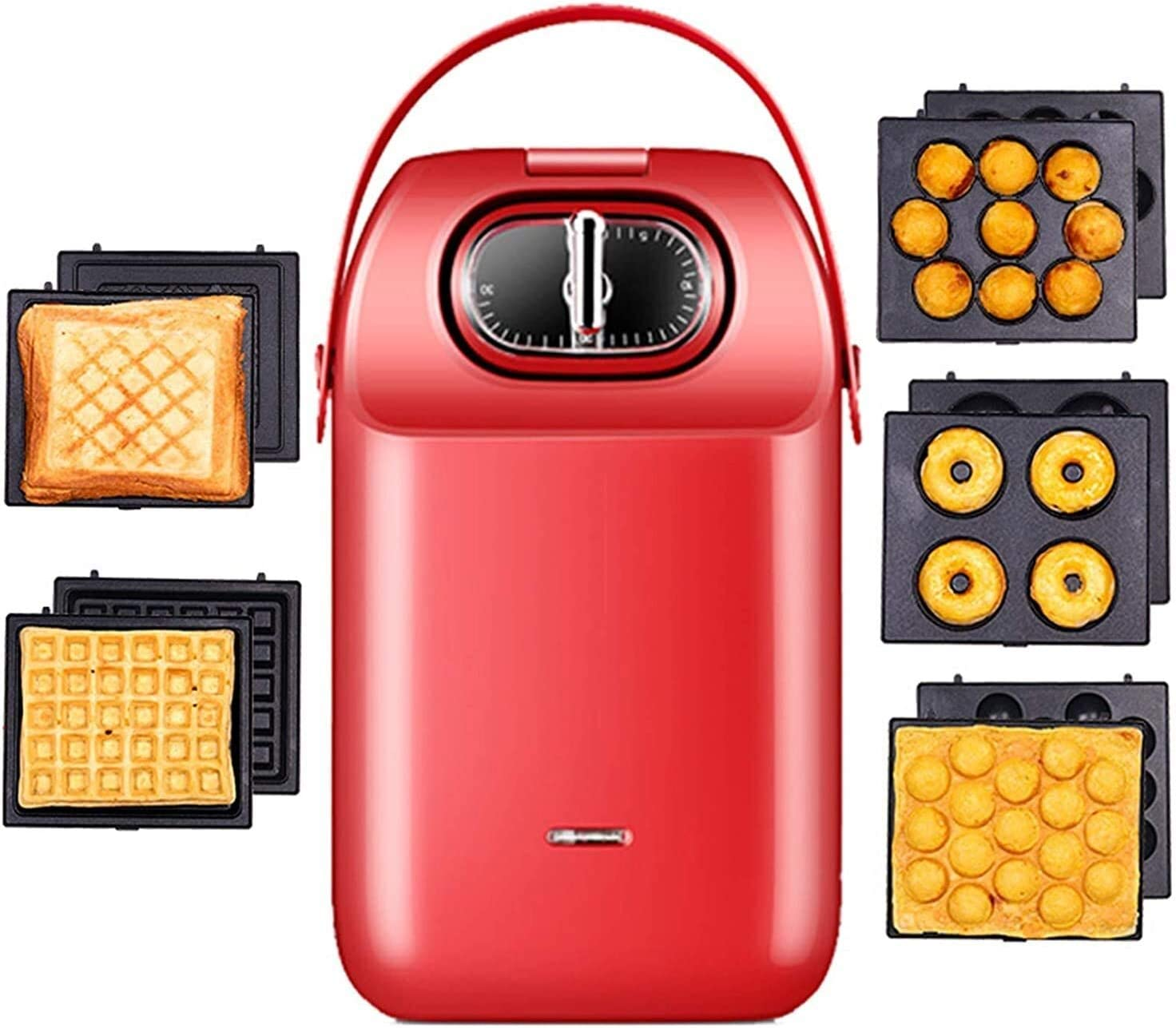 sandwich toaster Sandwich Toaster, Donut Maker Machine, Waffle Maker, Panini Press Grill, 4 in 1 Multi-Function Home Heating Light Food Machine, Double Layer Non-Stick Flat Bread Toaster,Red