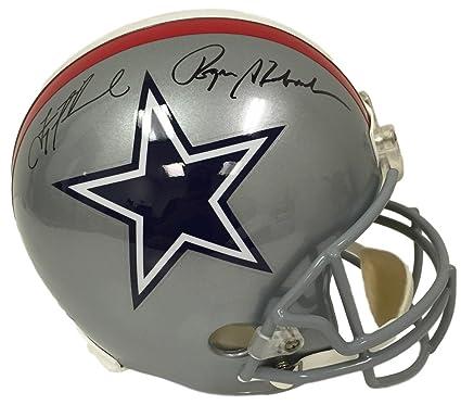 d9da43e0f Troy Aikman Roger Staubach Signed Dallas Cowboys Full Size Replica Helmet  JSA
