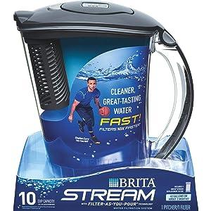 CLOROX SALES CO BRITA DIV 36217 Brita10C Stream Pitcher, 10-cup, carbon gray
