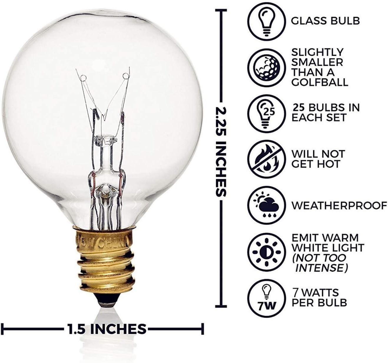 confezione sicura e comoda lampadine in vetro trasparente G40 Confezione da 25 lampadine di ricambio G40: 7 Watt G40 globo per luci a filo adatto per prese E12 e C7 uso interno ed esterno attacco a vite per candelabro