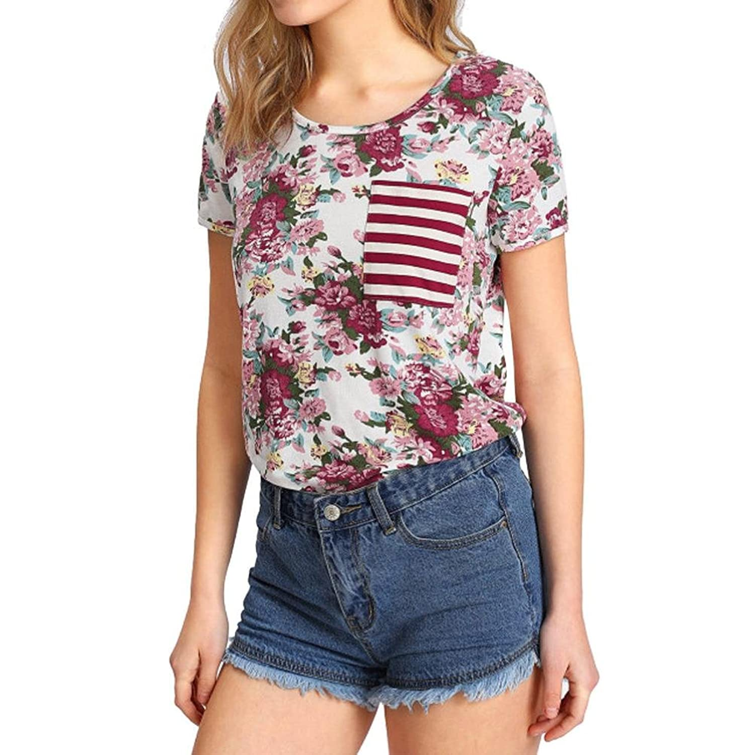 Causel T-Shirt Tops For Women Girls Teens,[Cotton Short Sleeve T-Shirt With Pocket ]-Simple Style