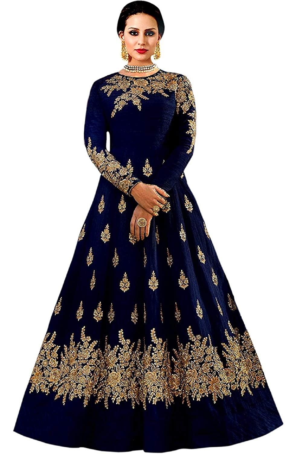 56994d5be896c Salwar Style Women's Gown (Bh2135_Navy Blue_Free Size)
