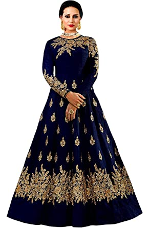 Buy Womens Clothy Women S Embroidered Blue Taffeta Silk Anarkali