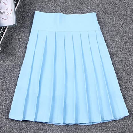 HEHEAB Falda,Falda Plisada Japonesa Azul Celeste Cosplay Uniforme ...
