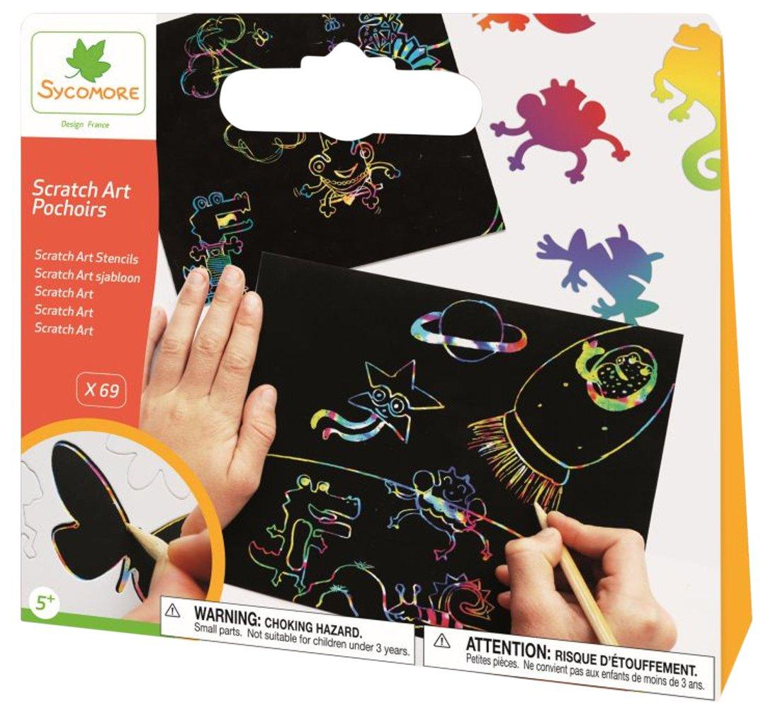 Amazon.com: Sycomore cre44021 – Craft Stencil Scratch Art Multicolor – Clutch: Toys & Games