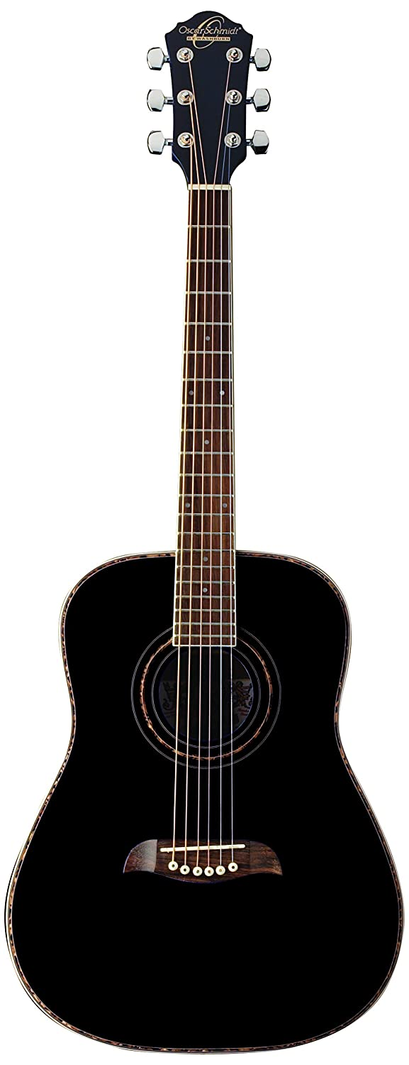 Oscar Schmidt 6 String OG1B 3/4 Size Dreadnought Acoustic Guitar. Black (OG1B-A)