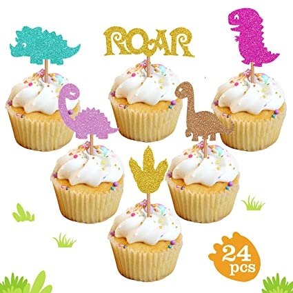Baby Dinosaur Cupcake Toppers Glitter Dinosaur Cupcake Toppers For Kids Birthday Baby Shower Party Decorations Supplies 24 Pack