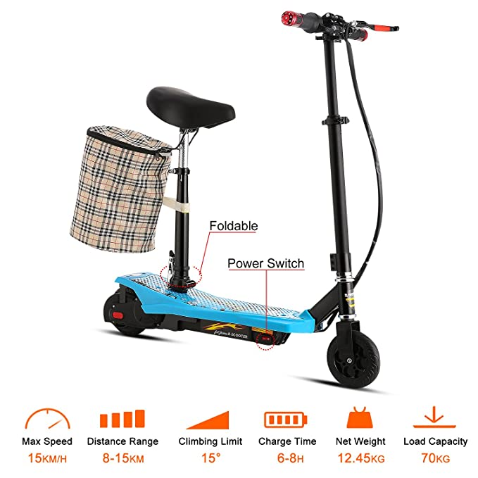 AIMADO E-Scooter Patinetes Electricos Plegable con Asiento y ...