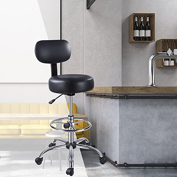SUPERJARER Drafting Chair with Back, Adjustable Foot Rest Swivel Stool, Multi-Purpose Office Desk Chair, Thick Seat Cushion for Home Bar Kitchen Shop ...