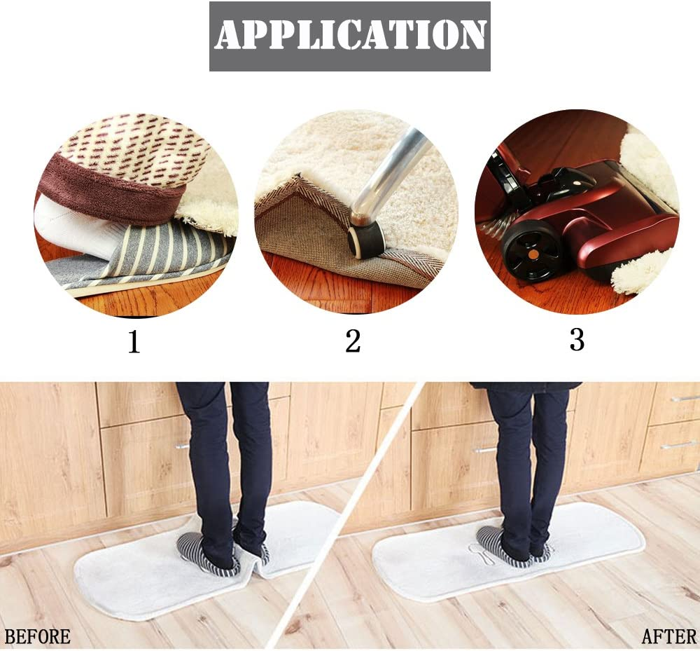 JianQiao 16 PCS Rug Carpet Grippers Best Anti Curling Rug Gripper Flattens Rug Corners and Stops Rug Slipping. Excellent Carpet Gripper with Renewable Carpet Tape