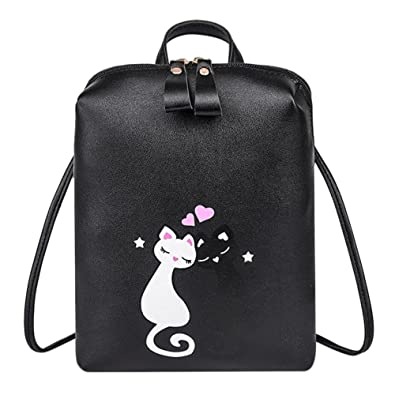 1eb66e3e0f asiproper Cute Cartoon Cat Printed Backpacks for Women Girls Casual Travel  Zipper PU Leather Shoulder School Bags  Amazon.in  Shoes   Handbags