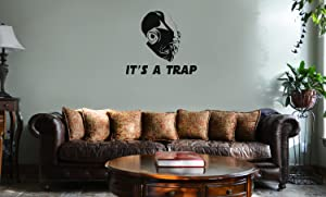Decal Serpent Star Wars Inspired It's A Trap Admiral Ackbar Vinyl Wall Mural Decal Home Decor Sticker (Black)