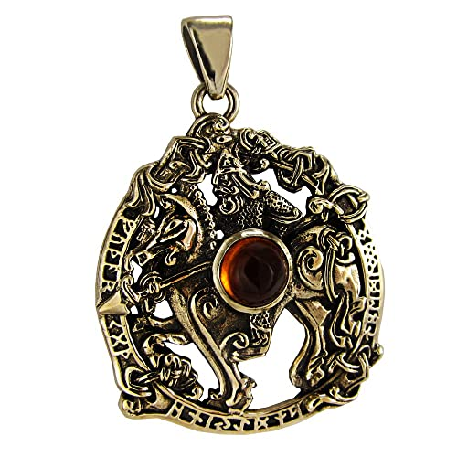 Bronze Norse God Odin Pendant with Synthetic Amber