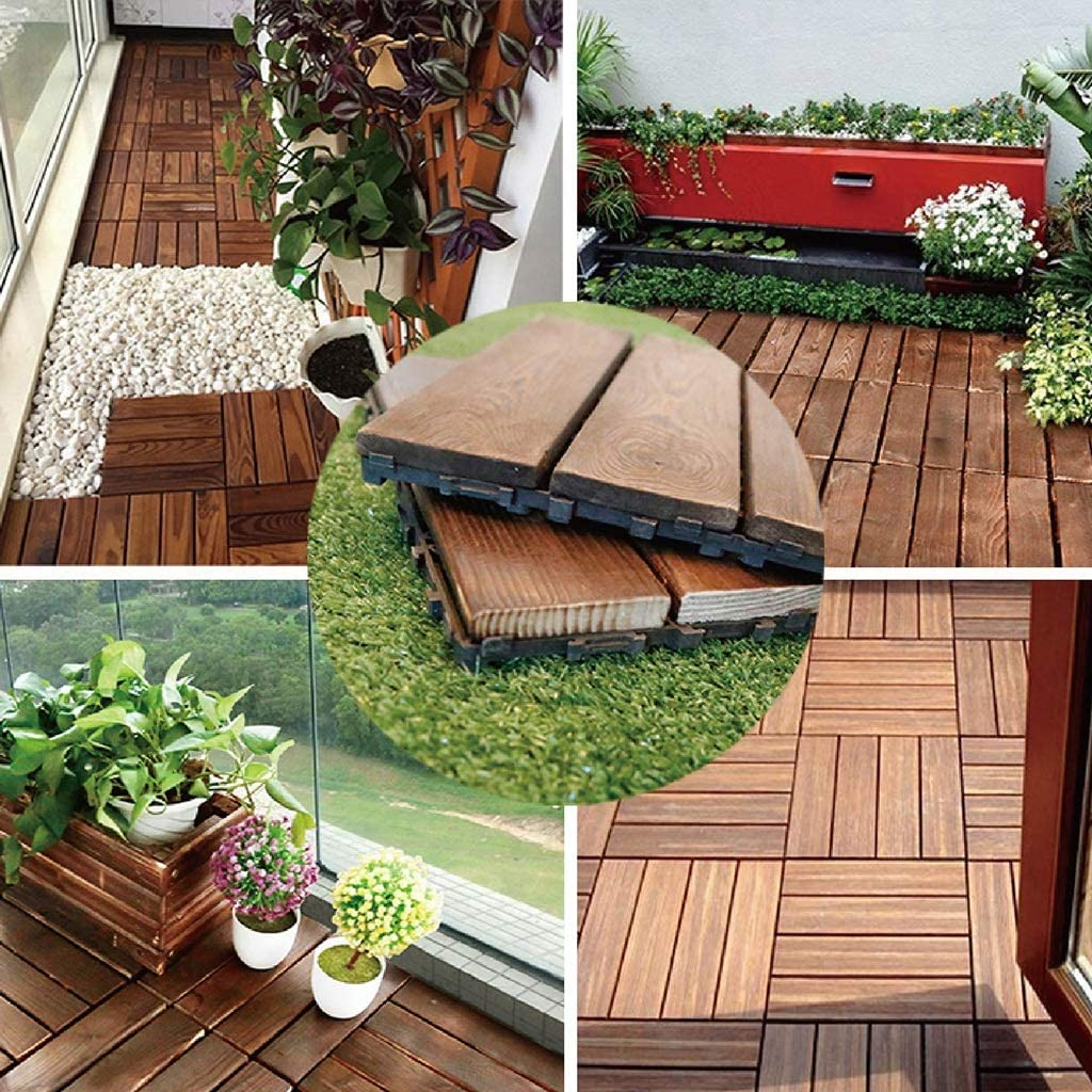 Jardín y patio Revestimientos Azulejos Suelo de madera piso de empalme balcón terraza al aire libre decoración suelo impermeable 30 * 30 cm Juego de 10 piezas: Amazon.es: Bricolaje y herramientas