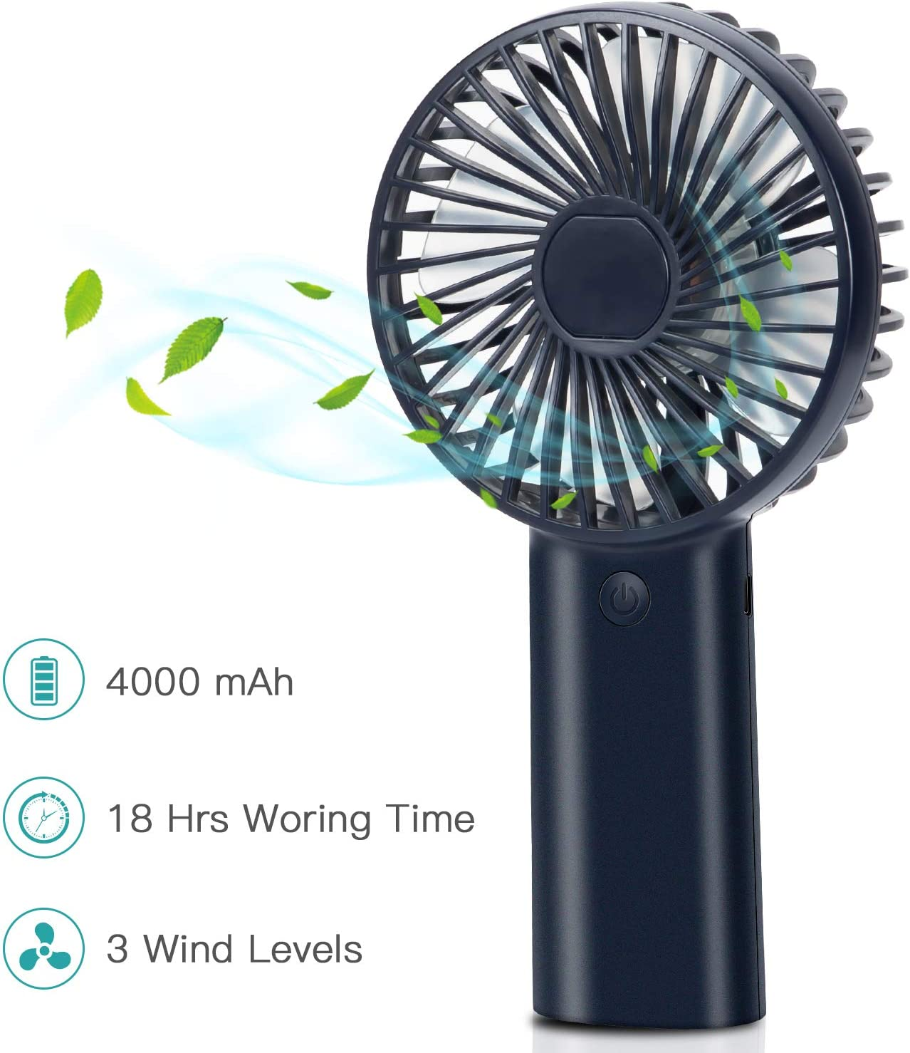 Portable Personal Fan, Mini Hand Held Fan, Desktop Handheld Fan, USB Rechargeable Battery Operated Fan, 4000mAh, 3 Speed Settings, Quick Charging, Strong Wind Fan for Trip, Home, Office Royal