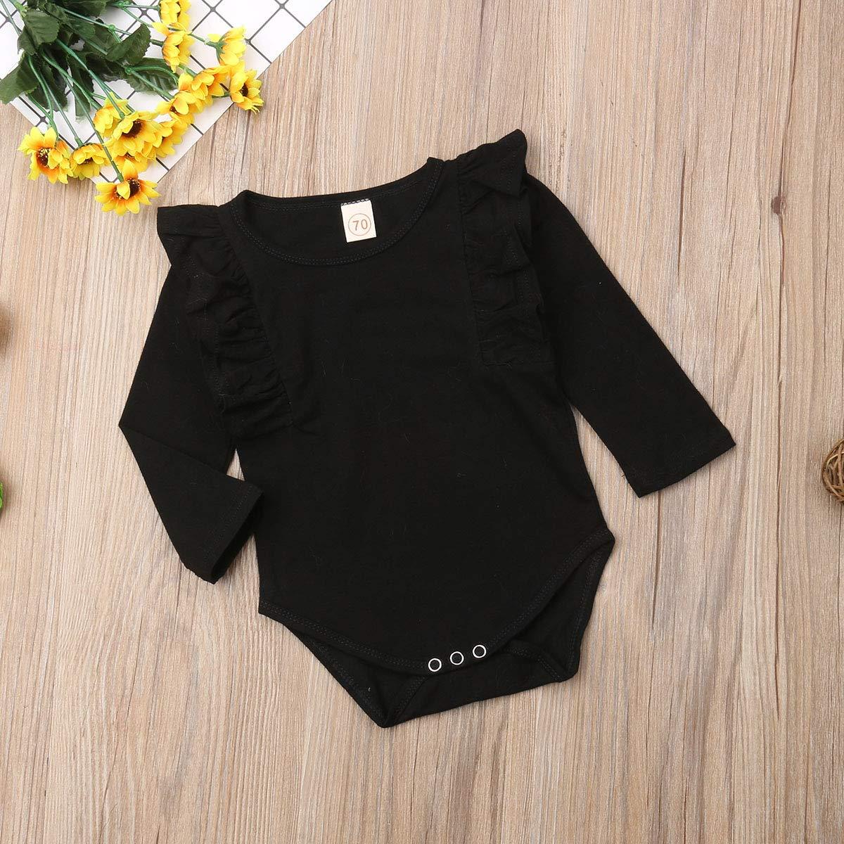324a481131b Amazon.com  FOYUN Infant Baby Girls 5 Solid Colors Long Sleeve Ruffle  Bodysuit Romper Jumpsuit  Clothing