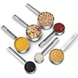 KitchenTour Heavy-duty Stainless Steel Measuring Cups Set with Long Handles, 7-Piece