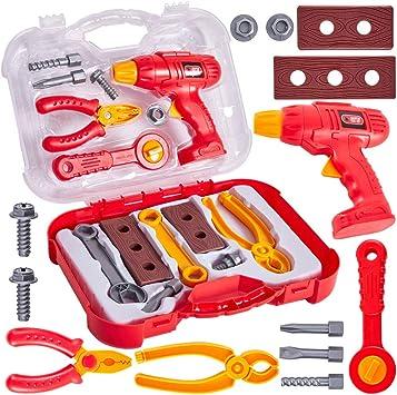 Buyger Caja Herramientas Juguete Maletin Construccion Herramientas Juegos de rol para Niños 3 4 5 Años (Rojo): Amazon.es: Juguetes y juegos