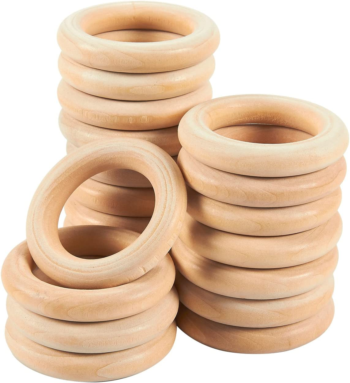 Exceart 1 Set//61 Pcs Unfinished Wooden Rings Wooden Teething Ring Natural Wood Teething Rings Macrame Cotton Cord Cotton Rope Tapestry Accessories