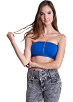 Ladies Royal Blue Front Zippered Padded Bandeau