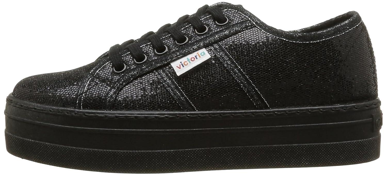 Blucher Glitter Plataforma, Damen Sneaker Schwarz Noir (Negro) 39 Victoria