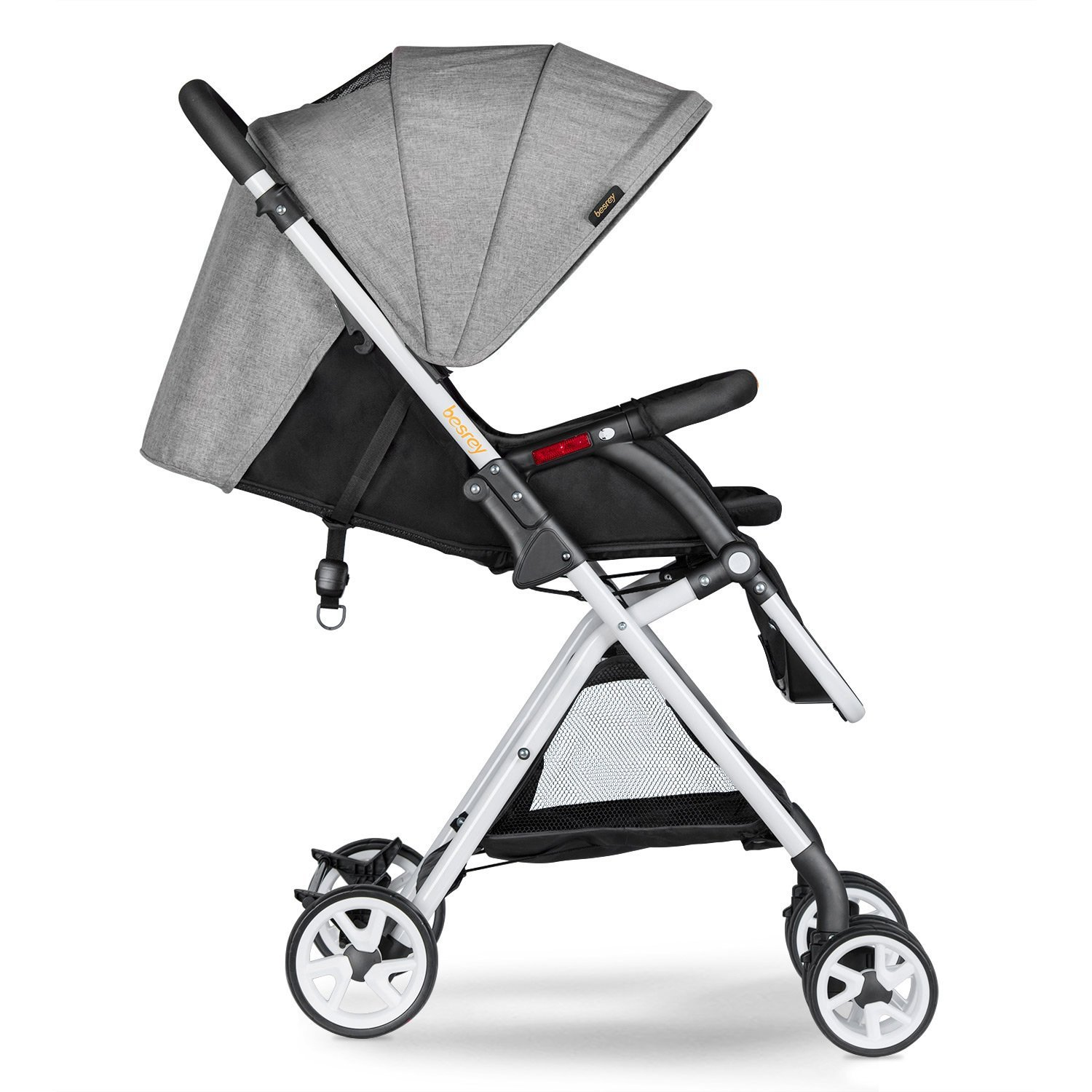 Besrey BR-C703S Lightweight Baby Stroller Foldable Lightweight Stroller,Infant Adjustable Pushchair Pram with Storage Basket,for 0-36 Months(Grey)