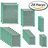 28PCS Double Sided PCB Prototype Board, 6 size by Paxcoo