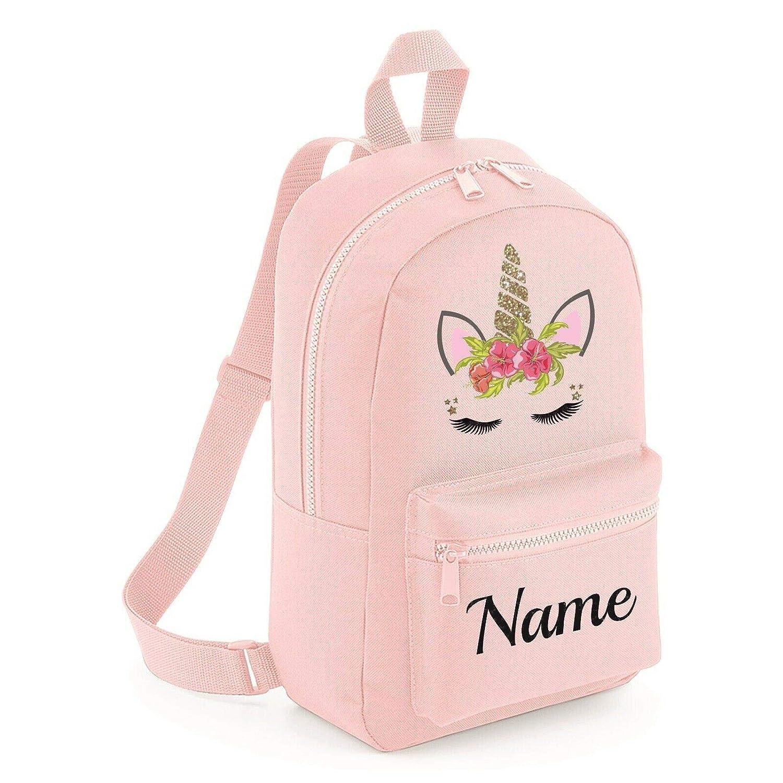Personalised Kids Backpack Any Name Unicorn Girl Childrens Back To School Bag 11
