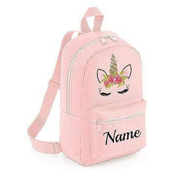Personalised Kids Backpack Embroidered Unicorn Pink Name Rucksack School Bag