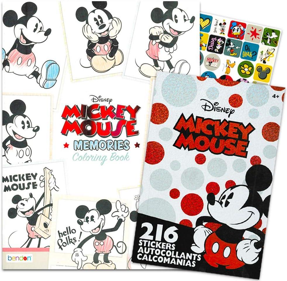 ディズニー ミッキーマウス 塗り絵 大人用 リラクゼーションセット - ミッキーとミニーマウス、グーフィー、ドナルドなどが描かれた高度なディズニー塗り絵本 ステッカー付き (大人用ディズニー塗り絵本)