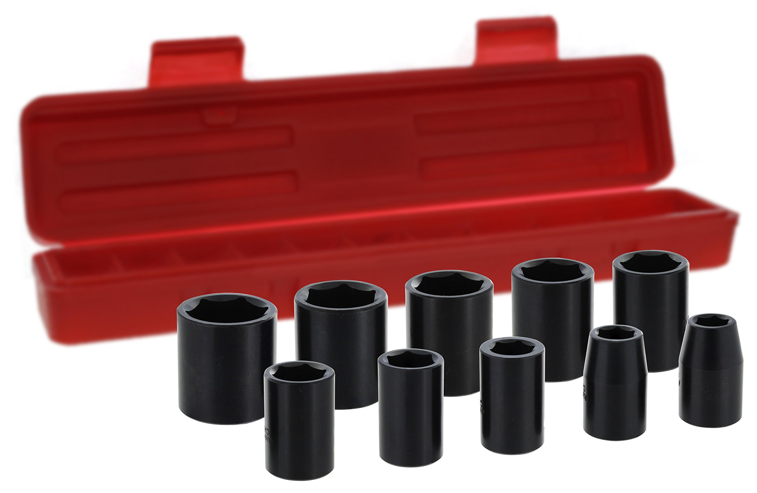 Drixet 1/2'' Drive Shallow Metric Impact Socket Set | 10-Piece 6-Point CR-V Sockets with Case | Includes Sizes: 12, 13, 14, 15, 16, 17, 18, 19, 21 & 24mm