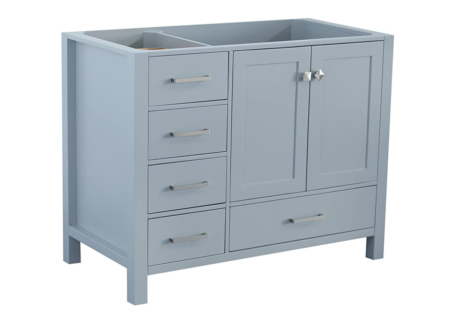 ARIEL Cambridge A043S-R-BC-GRY 42 Inch Single Right Offset Solid Wood Grey Bathroom Vanity Base Cabinet with Two Soft-Closing Doors and Five Self-Closing Drawers