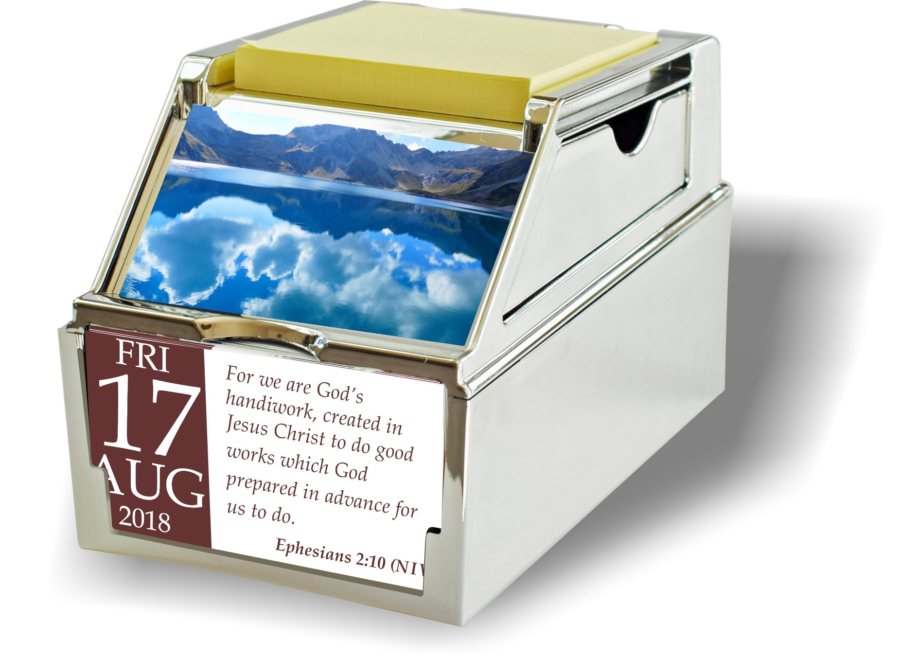 MY FAITH Inspirational Daily Desk Calendar Gift With Reusable Organizer Case (CHROME)