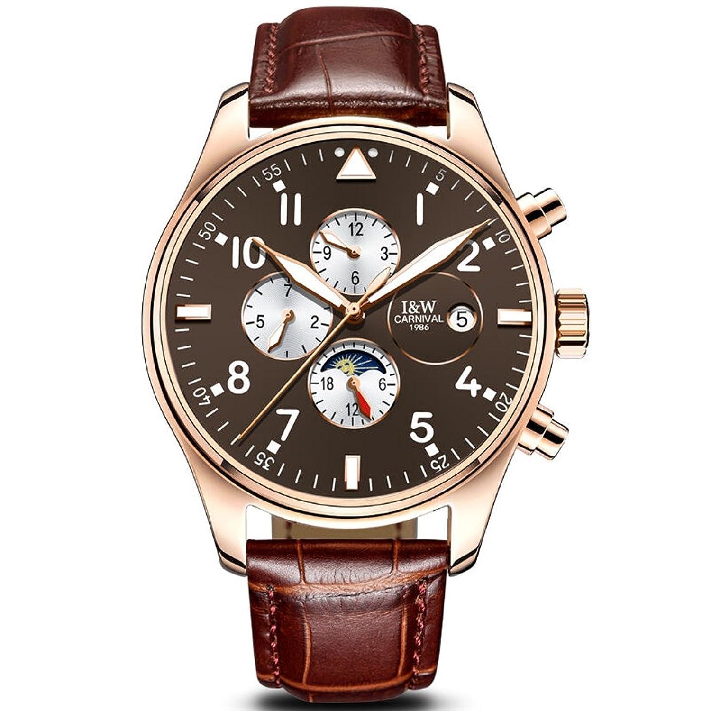 jianianhua Herren Business Multifunktions Moon Phase Zifferblatt Leder Armband Automatische Mechanische Uhr Armbanduhr
