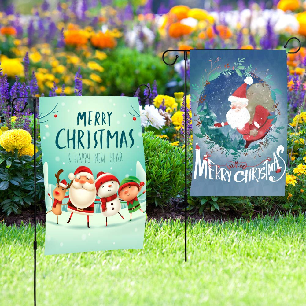 LovesTown Christmas Flag,2 PCS Double Sided Garden Flag 12 x 18 inch Winter Santa Decorative Flag for Party Yard Home Outdoor Decor
