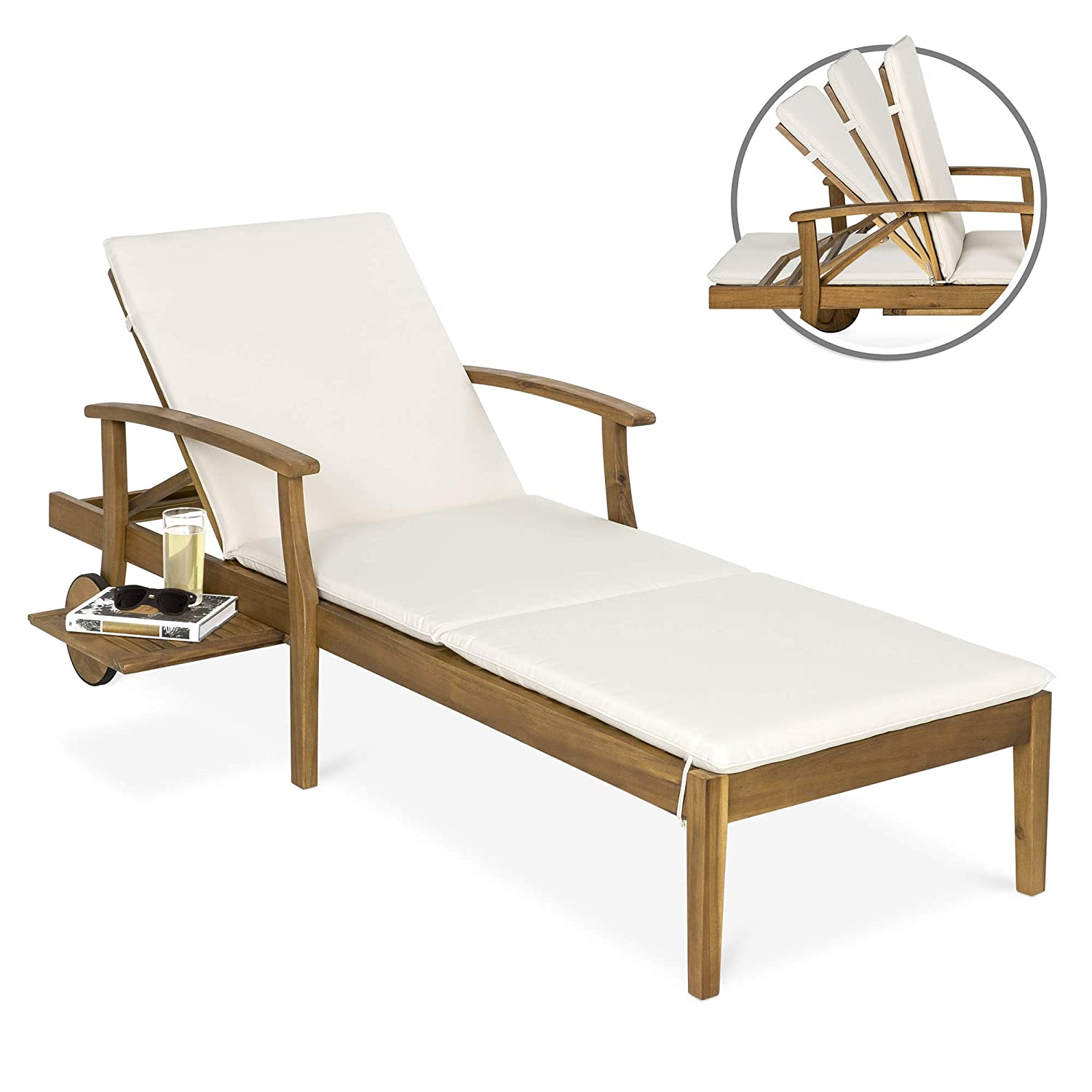 Best Choice Products 79x30in Acacia Wood Outdoor Chaise Lounge Chair w/Side Table, Adjustable Backrest, Cushion, Wheels