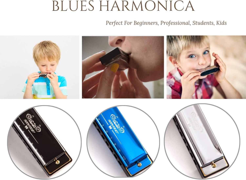 Beginners JSL Harmonica Standard Diatonic Key of C 10 Holes 20 Tones Blues Mouth Organ Harp For Kids Silver Professional Students