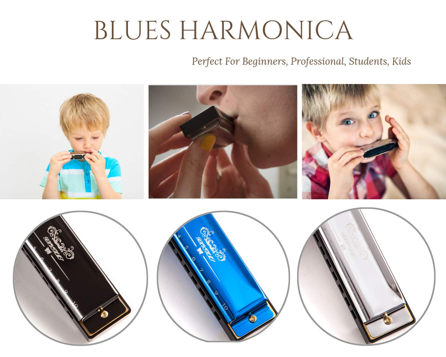 JSL Harmonica, Standard Diatonic Key of C 10 Holes 20 Tones Blues Mouth Organ Harp For Kids, Beginners, Professional, Students (Blues) by jieshiling (Image #5)