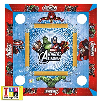 HALO NATION Avengers Carrom Board Premium Quality with Carrom, Coins, Striker, Pawns and Dice 20*20 inches
