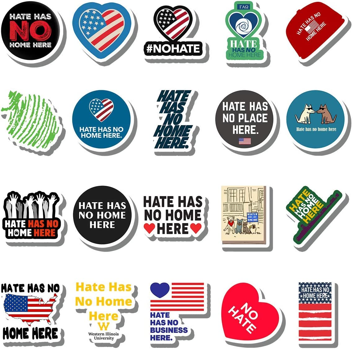 20 PCS Stickers Pack Hate Aesthetic Has Vinyl No Colorful Home Waterproof Here for Water Bottle Laptop Bumper Car Bike Luggage Guitar Skateboard
