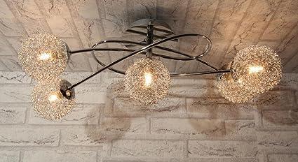 Lámpara de techo lámpara techo diseño moderno acero cromado ...
