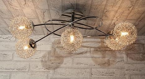 Plafoniere Vetro Soffiato : Plafoniera lampadario soffitto design moderno acciaio cromo sfere