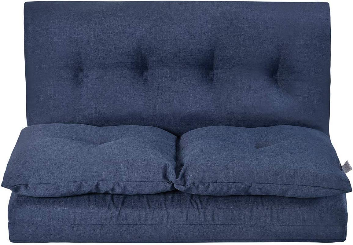 MIERES Adjustable Fabric Folding Chaise Lounge Sofa Chair Floor Couch, Navy Blue