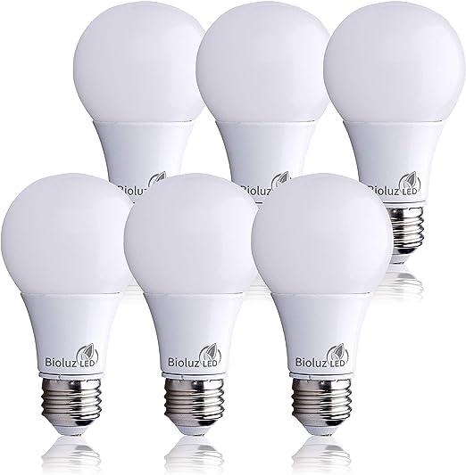Bioluz Led Light Bulbs 60 Watt A19 Warm White 2700k Non Dimmable A19 60 Watt Light Bulb 6 Pack