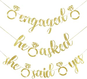 Engagement Party Banners Glitter Gold Letters He Asked She Said Yes Garland for Wedding Engagement Party Hen Party Bridal Shower Bachelorette Party Favor Party Decoration Supplies (Gold)