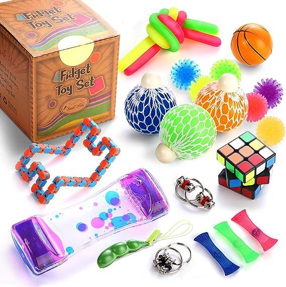 Rainbow Magic Sensory Balls Juguetes Fidget Para Ni/ños Y Adultos Squeeze-a-Bean Juego De Juguetes Sensoriales Alivia El Estr/és Y La Ansiedad Fidget Toy-Set-Bike Chain