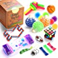 Fidget Toys Set, 16 Pcs. Sensory Tools Bundle for Stress Relief and Anti-Anxiety for Kids and Adults, Marble and Mesh, Pack of Squeeze Balls, Soybean Squeeze, Flippy Chain, Liquid Motion Timer & More