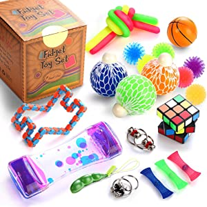 Sensory Fidget Toys Set, 25 Pcs., Stress Relief and Anti-Anxiety Tools Bundle for Kids and Adults, Marble and Mesh, Pack of Squeeze Balls, Soybean Squeeze, Flippy Chain, Liquid Motion Timer & More