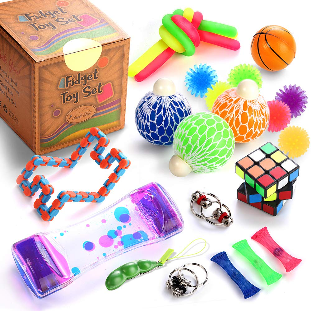 Sensory Fidget Toys Set 25 Pcs. Stress Relief and Anti-Anxiety Tools Bundle for Kids and Adults Marble and Mesh Pack of Squeeze Balls Soybean Squeeze Flippy Chain Liquid Motion Timer & More