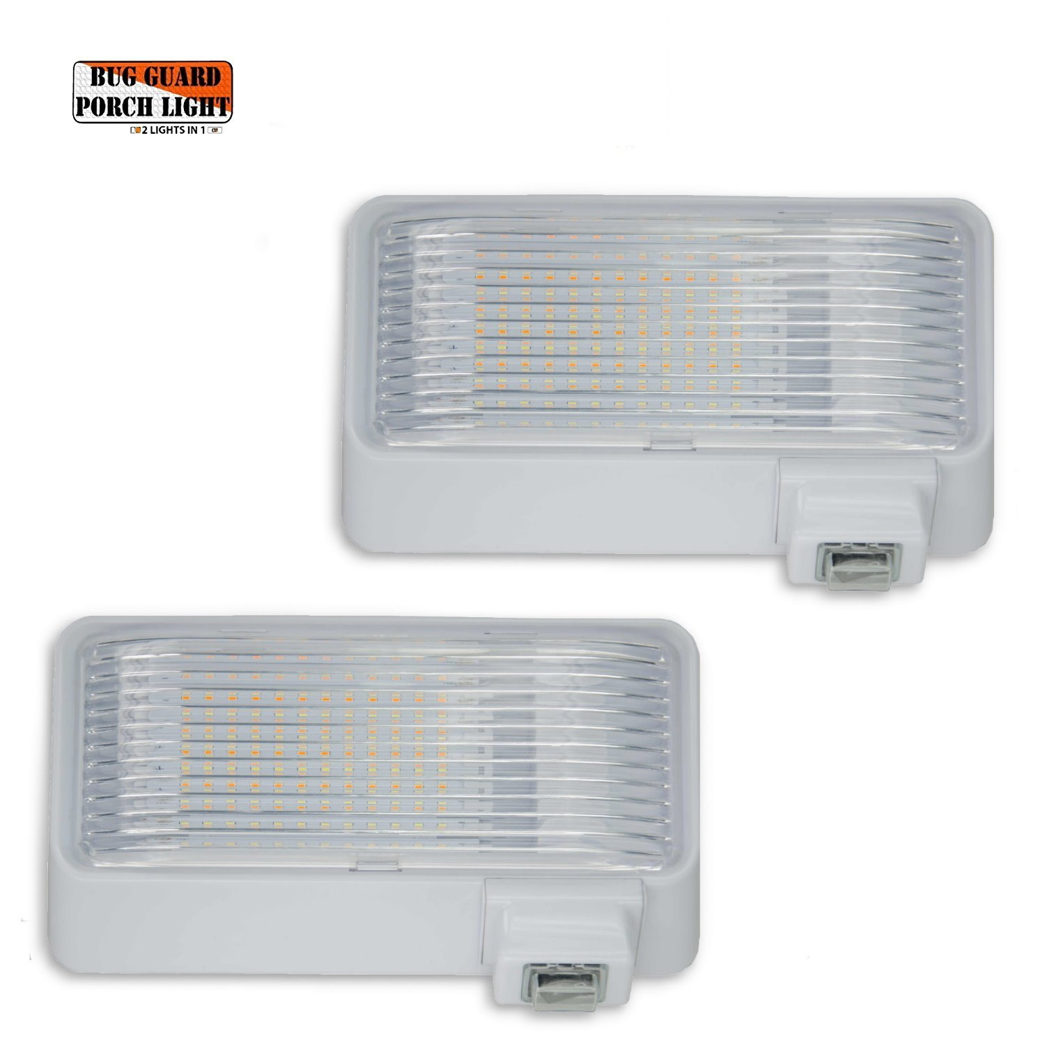 BUG-GUARD BG520W (2 PAC) 12 Volt Functional Exterior RV Long-Life LED Flood Porch Light with Bright 220 Lumen (Amber)/520 Lunen (White), 2 Lights in one.